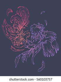 Fashion couple of broody girl and rooster boy hipsters, Valentine Day symbol. Colorful birds on violet background. From the strong passion the feathers fly away. It can be used for print poster