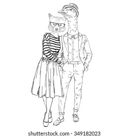 fashion couple of foxy girl and goose boy hipster, Valentine Day design