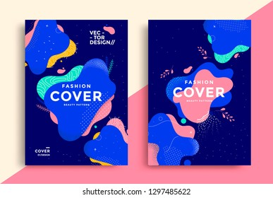 Fashion covers set with fluid shapes and geometric elements. Vector template for poster, flyers. Memphis illustration.