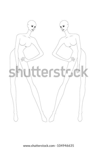 Fashion Croquis Fashion Figure Fashion Model Stock Vector (Royalty