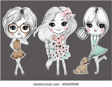 fashion and cute girl graphic for t shirt print
