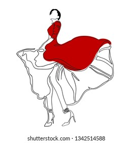 Fashion. Dance. Illustration of dancing girl wearing red dress on high heels. Continuous line drawing of beautiful lady, minimalism, woman beauty. Vector illustration for t-shirt design, tattoo