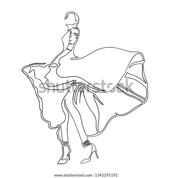 a1ad21513f67b Fashion. Dance. Illustration of dancing girl in long dress on high heels.  Continuous