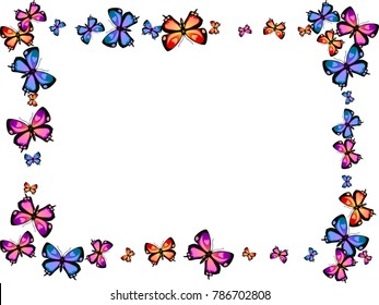 Fashion decorative butterfly silhouette kite background on white. Spring butterfly hover fram theme vector in pink, violet, red, blue and purple colors. Repeating insect soar frame backdrop for cover.
