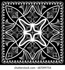 Fashion design Black and white Paisley Bandana Print with Mandala floral pattern. Vector illustration