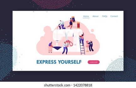Fashion Design Concept, Creative Atelier, Tailor Textile Craft Business, Dressmaker Create Outfit and Apparel on Sewing Machine Website Landing Page, Web Page. Cartoon Flat Vector Illustration, Banner