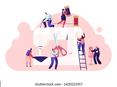 Fashion Design Concept, Dressmakers Create Outfit and Apparel on Sewing Machine, Assistant Working with Mannequin. Creative Atelier, Tailor Textile Craft Business. Cartoon Flat Vector Illustration