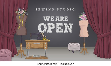 Fashion Design Concept. Sewing Studio banner with sign that says 'We're Open'. Tailor Create Outfit and Apparel, Assistant Working with Mannequin. Creative Atelier Web Page. Vector illustration