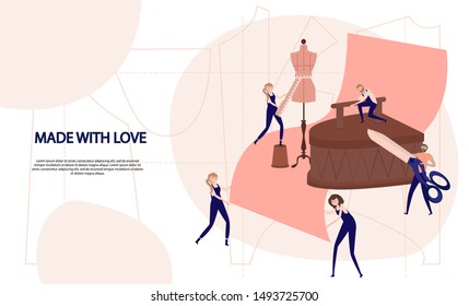 Fashion Design Concept. Tailor Create Outfit and Apparel, Assistant Working with Mannequin. Creative Atelier Web Page. Editable vector illustration.