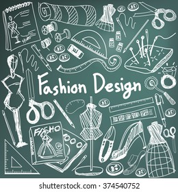 Fashion design education chalk handwriting doodle icon tool sign and symbol in blackboard background used for designer presentation title with header text, create by vector