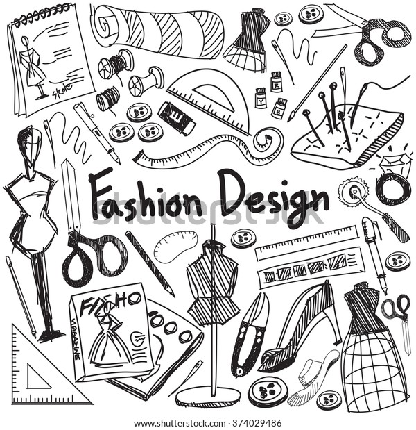 Fashion Design Education Handwriting Doodle Icon Stock Vector Royalty Free 374029486