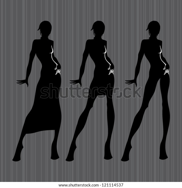 Fashion Design Female Models Silhouettes Template Stock Vector Royalty Free 121114537