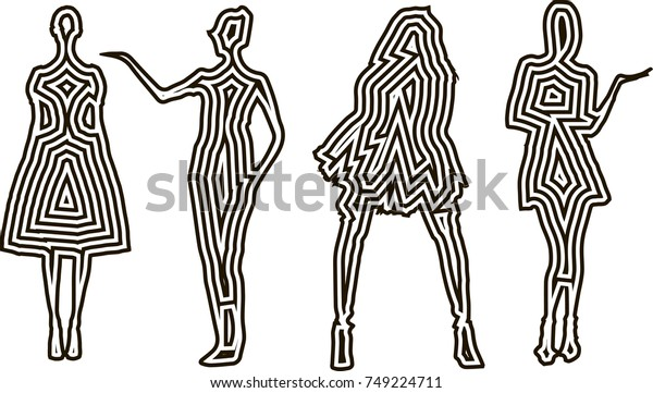Fashion Design Female Models Silhouettes Template Stock Vector Royalty Free 749224711