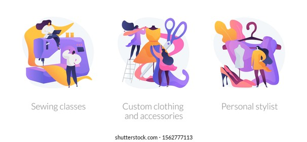 Fashion design flat icons set. Dressmaker course, tailor atelier. Sewing classes, custom clothing and accessories, personal stylist metaphors. Vector isolated concept metaphor illustrations.