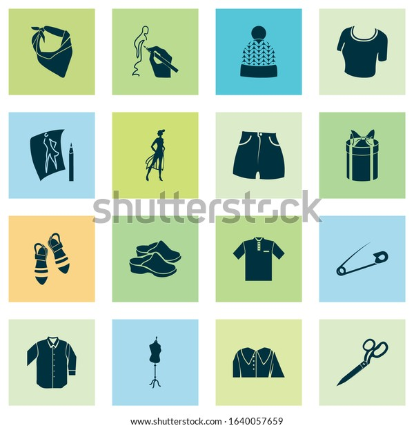 Fashion design icons set with flat shoes, model, bandanna drawing elements. Isolated vector illustration fashion design icons.