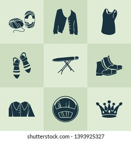 Fashion design icons set with puritan collar, ironing board, skein of yarn and other wool elements. Isolated vector illustration fashion design icons.