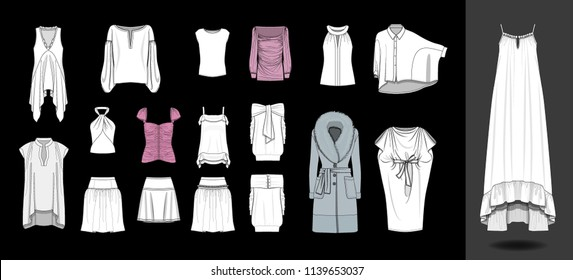 Fashion design illustration dress shirts tops template blouse skirts feminine glamorous casual clothing garments