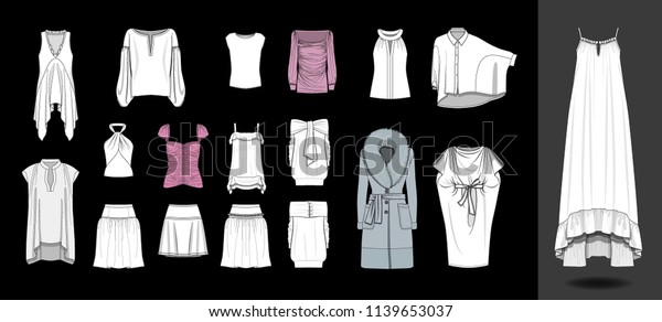 Fashion Design Illustration Dress Shirts Tops Stock Vector Royalty Free 1139653037