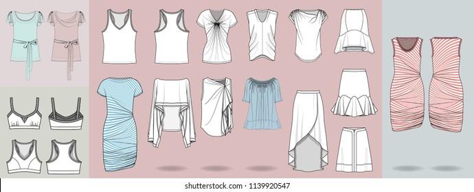 Fashion design illustration template garments clothing design shirts blouses skirts dresses template sportswear
