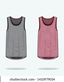 Men's fashion design illustration template shirt top sleeveless tank top cad