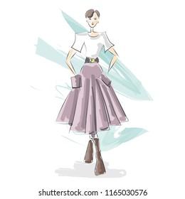 Fashion design illustration watercolor sketch. Autumn fashion.