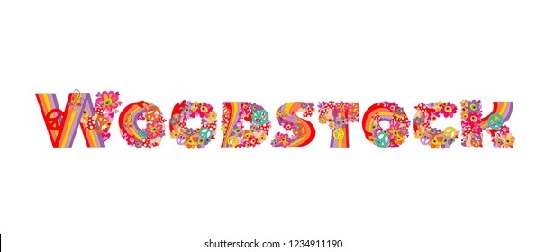 Fashion design isolated on white background with Woodstock hand drawing lettering for t shirt hippie print and party poster