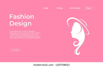Fashion design landing page template with feminine colors and girl face. Vector illustration eps 10.