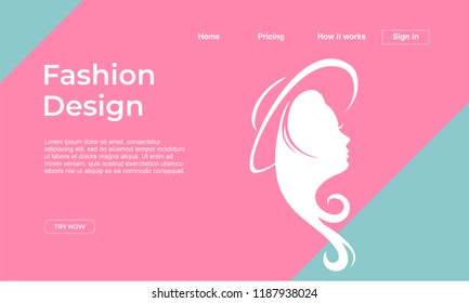 Fashion design landing page template with punchy pastel colors and girl face. Vector illustration eps 10.