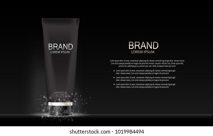Fashion Design Makeup Cosmetics Product  Template for Ads or Magazine Background.  Mascara Product Series Reportv 3D Realistic Vector illustration. EPS10
