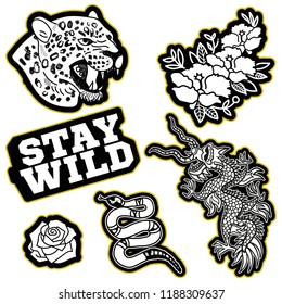 Fashion design print of patch or sticker for clothes t shirt bomber sweatshirt with Japan dragon, wild head of leopard, gold snake, trend phrase, flowers Modern Trendy icon for streetwear brand.