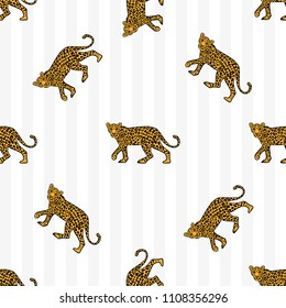 Fashion design print of seamless pattern on textile clothes t shirt sweatshirt poster with the Wild animal leopard in full height and gray a strip. Modern Trendy illustration for streetwear brand.