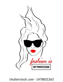 Fashion design sketch woman in style pop art. Glamour woman in black sunglasses red lips. Red mouth speed girl fashion sketch.