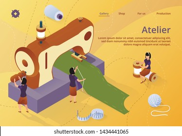 Fashion Design, Tiny Women Dressmakers Characters Create Outfit and Apparel on Giant Sewing Machine, Creative Atelier, Tailor Textile Craft Business, Industry. Isometric 3d Vector Illustration, Banner
