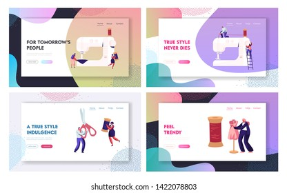 Fashion Design Website Landing Page Set, Dressmakers Create Outfit and Apparel on Sewing Machine, Assistant Working with Mannequin. Creative Atelier Web Page. Cartoon Flat Vector Illustration, Banner