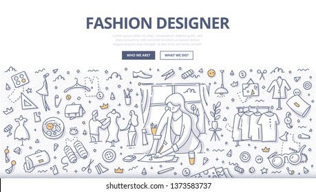 Fashion designer draws fabric or clothing sketches in sewing studio. Concept on fashion design. Atelier tailoring. Doodle illustration for web banners, hero images, printed materials