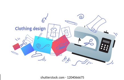 fashion designer stylish clothing design concept sewing machine icon sketch doodle horizontal vector illustration
