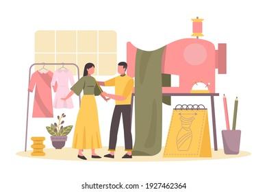 Fashion designer. Tailoring order. Clothes on mannequin or model. Atelier taking measurements or sew. Pashion studio. Personal tailor. Fashion designer, stylist, dressmaker at work. Vector.