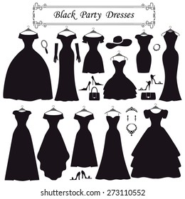 Fashion dress. Different styles of black party dress Silhouette set. Modern flat vector style.Composition with handbag,high heel shoes,jewelry decoration swirling frame.Isolated Vector Illustration