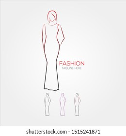 Fashion Dress Model Logo Icon Symbol template, for Fashion Show, Boutique store agency- EPS 10 Vector