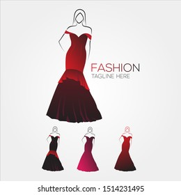 Fashion Dress Woman Female Logo Icon template, for Fashion Show, Boutique store model - EPS 10 Vector