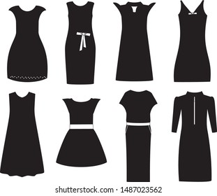 Fashion dresses for woman, Vector clothing.  Dress black  silhouette.