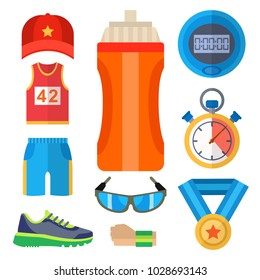 Fashion dressing run sport accessory icons vector sneaker activity footwear exercise workout.