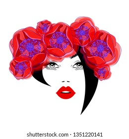 Fashion elegant woman with black abstract hairstyle, diadem and wreath from the beautiful red flowers in watercolor style, lush eyelashes, red lips. Beauty logo, spa salon, vector illustration.