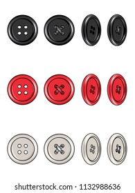 Fashion Elements: 4-Hole Round Buttons with Rim Vector Illustration