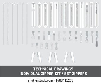 Fashion elements: Basic Zipper Vector Illustration Technical Drawing Zip pullers lock stock collection isolated vector fittings sequins chain rope illustrator zippered zippered lock zipper pullers