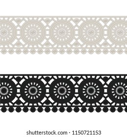 Fashion Elements: Crochet Lace Circles Trim Vector Illustration
