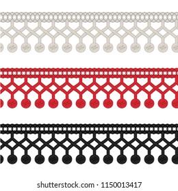 Fashion Elements: Crochet Pom-Pom Fringe Trim Vector Illustration