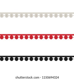 Fashion Elements: Crochet Pom-Pom Trim Vector Illustration