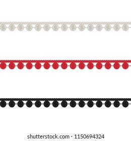 Fashion Elements: Crochet Pom-Pom Trim Vector Illustration