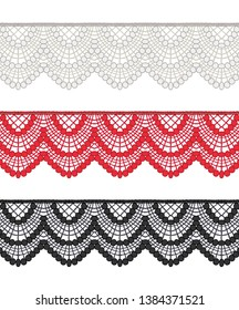 Fashion Elements: Crochet Scalloped Lace Swags Trim Vector Illustration
